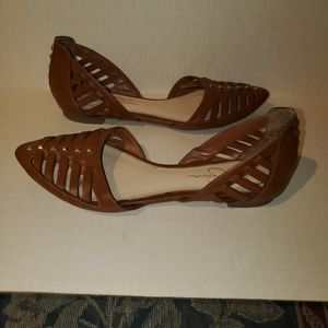 Jessica Simpson Brown Woven Studded Flats Sz 8